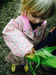 Caregiver Help Photo of 3-year-old Leah in a corn field