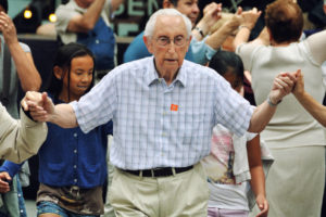 Older man dancing in long-term care