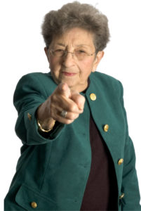 senior woman serious pointing